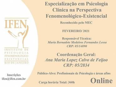 Curso de Especialização em Psicologia Clínica na Perspectiva Fenomenológico-Existencial (Online)